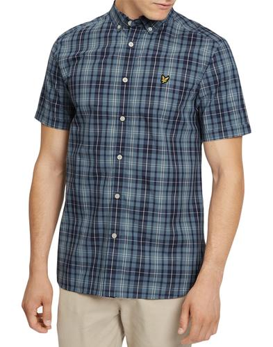 lyle and scott 60s mod plaid check shirt mist blue