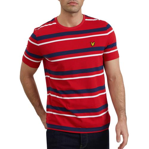atom retro mod clothing, retro clothes for men \u0026 women  lyle and scott multi stripe retro mod crew neck t shirt in dark red