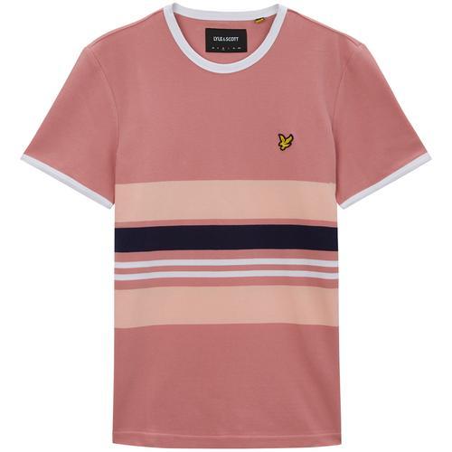 75b0163ee84 Lyle   Scott Men s Retro Mod Pique Stripe Ringer T-shirt in Pink Shadow