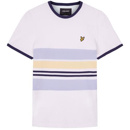 18374715 Lyle & Scott Men's Retro Mod Pique Stripe Ringer T-shirt in White