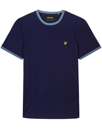 lyle and scott retro 70s mod ringer t-shirt navy