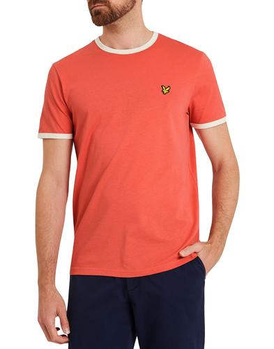 lyle and scott retro 70s ringer tshirt sunset pink