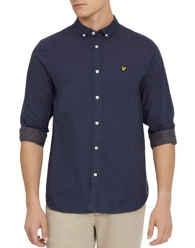 lyle and scott mens retro mod running stitch shirt