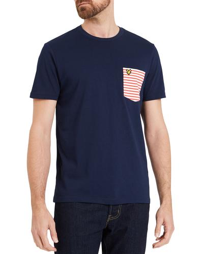 lyle and scott retro 70s mod stripe pocket t-shirt