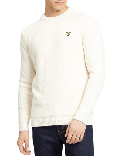 lyle and scott 70s terry towelling jumper seashell