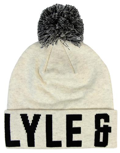 LYLE & SCOTT Retro Text Knitted Text Bobble Hat W