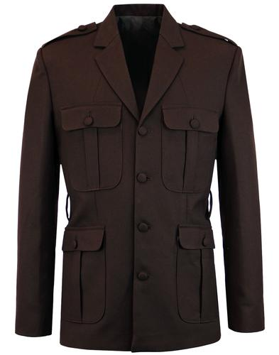 MADCAP ENGLAND 60s Mod Hopsack Safari Jacket BROWN