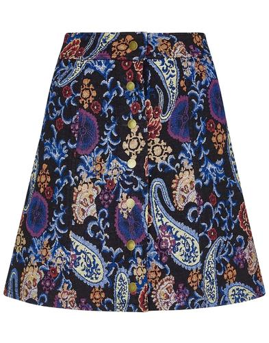 India BRIGHT & BEAUTIFUL 60s Paisley Mini Skirt