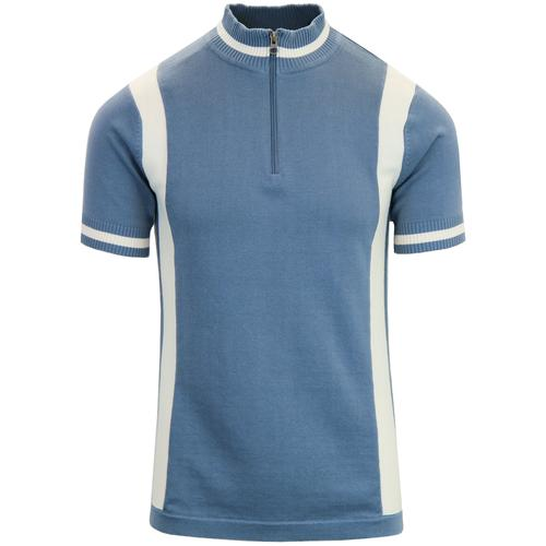 69d125a8e Madcap England Vitesse Retro 60s Mod Stripe Panel Cycling Top in Flintstone