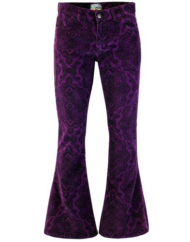 Paisley Rave MADCAP ENGLAND 1970s Cord Bellbottoms
