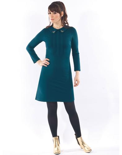 Mademoiselle Yeye Retro 60s Mod Dress Teal