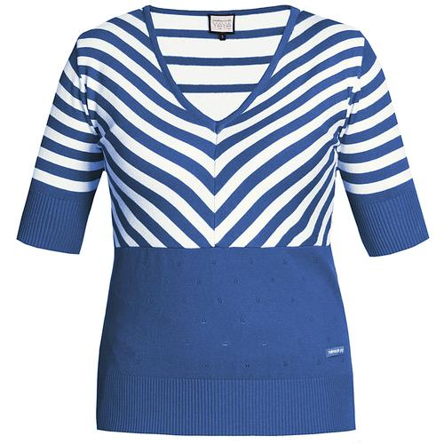 887f8b16c7ea Mademoiselle Yeye Retro 60s Knitted Stripes Lover Top Blue