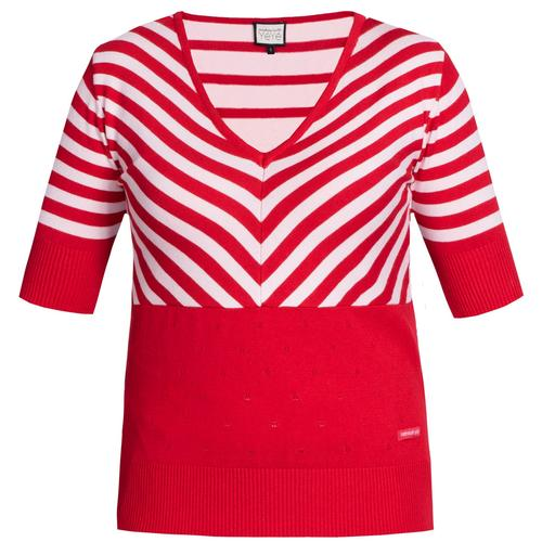 b68d76d01d6d Mademoiselle Yeye Retro 60s Knitted Stripes Lover Top Red