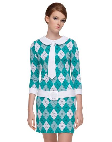 MARMALADE Retro 60s Argyle Mod Tie Dress Green
