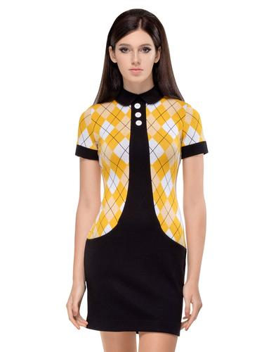 MARMALADE Retro Yellow Argyle Mod Sixties Dress