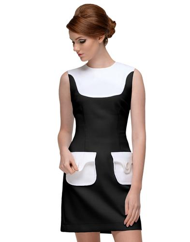 MARMALADE Retro 60s Mod Mini Dress in Black/Cream
