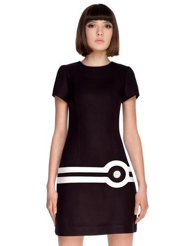 Marmalade Retro Mod Target Dress 60s Black