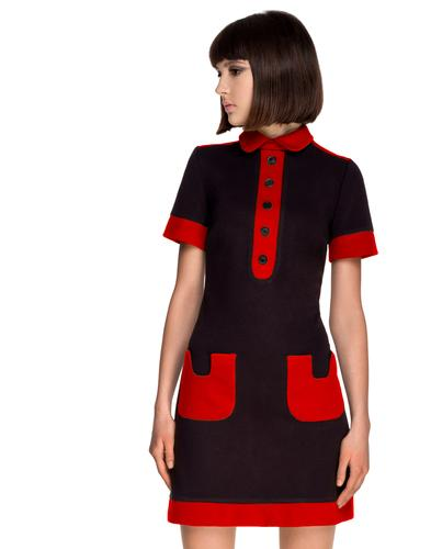 Marmalade Retro Mod Polo Dress Black Red