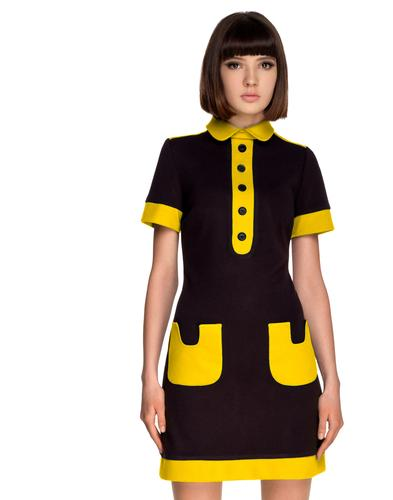 Marmalade Retro Mod Polo Dress Black Yellow