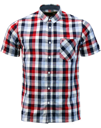 Ashford MERC Mod Block Check Button Down Shirt RED