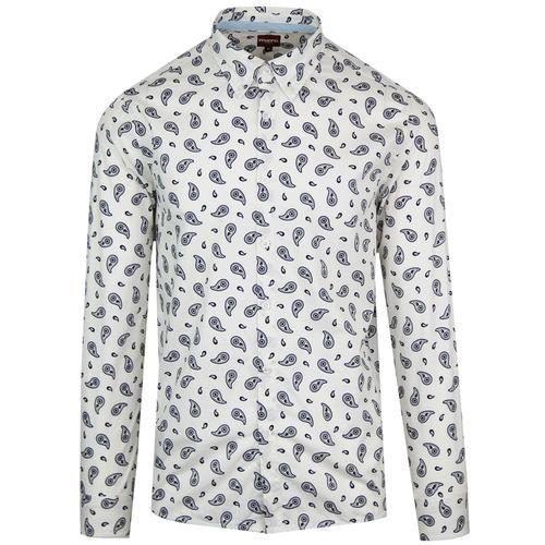 283847e9e Merc Endell 1960s Mod Button Down Paisley Shirt in Off White