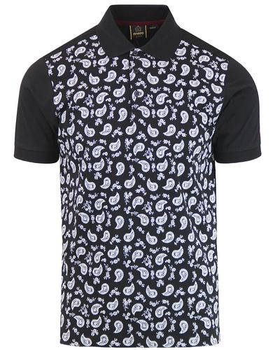 Hunter MERC 1960s Mod Monotone Paisley Polo Shirt