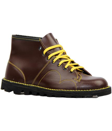 Retro Mod Smooth Leather Monkey Boots (Wine)