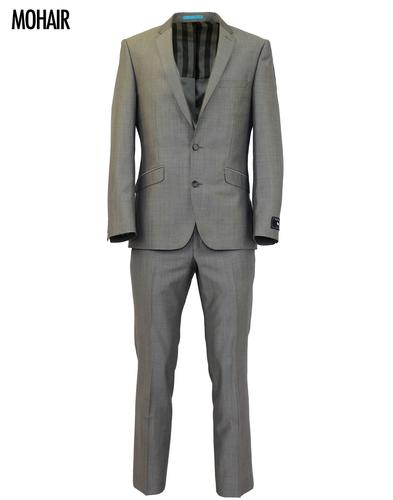 Retro 60s Mod Mohair Blend 2 Button Suit in Silver