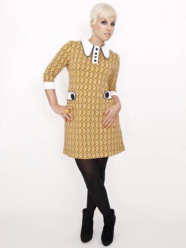 MADEMOISELLE YEYE RETRO MOD 60S POLO DRESS YELLOW