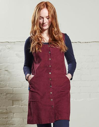 NOMADS Retro 70s Mod Cord Pinafore Dress Cranberry