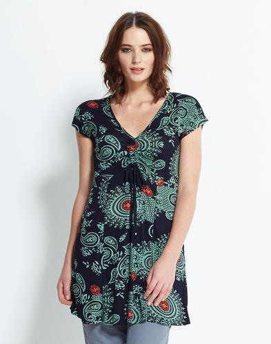 Asha NOMADS Retro Vintage Floral Ruched Tunic