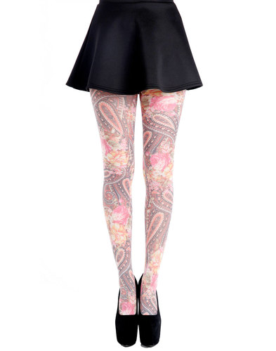 +PAMELA MANN Retro 60s Paisley Flower Print Tights