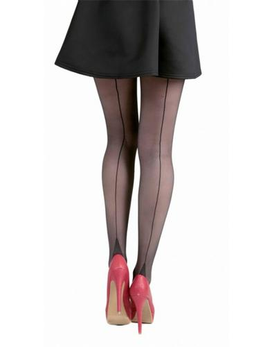 + PAMELA MANN Retro Vintage Jive Seamed Tights Blk
