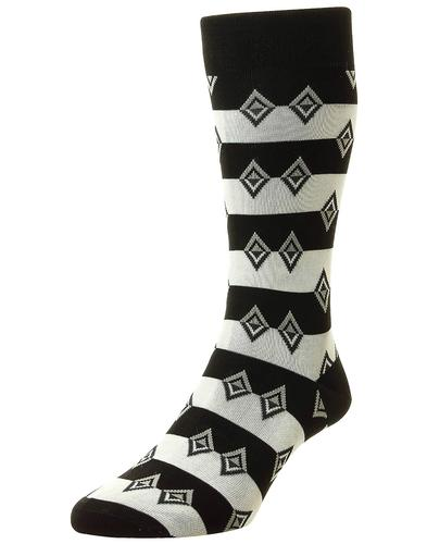 + Acapulco PANTHERELLA Retro Aztec Diamond Socks B