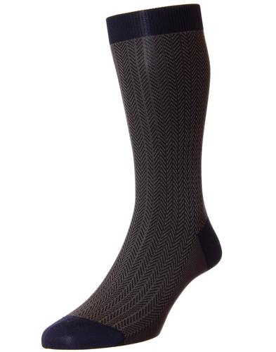 + Fabian PANTHERELLA Men's Mod Herringbone Socks