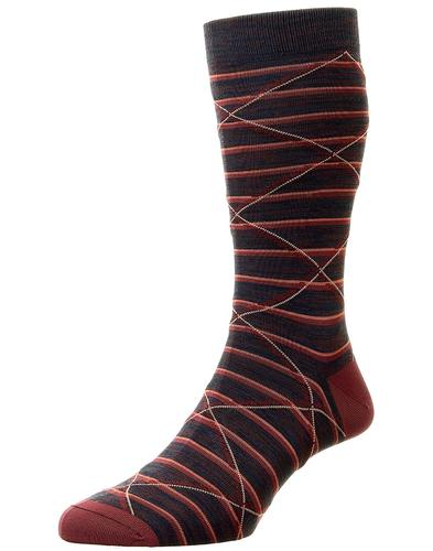 + Samana PANTHERELLA Striped Fine Knit Socks