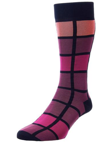 + Kauai PANTHERELLA Retro Windowpane Socks B