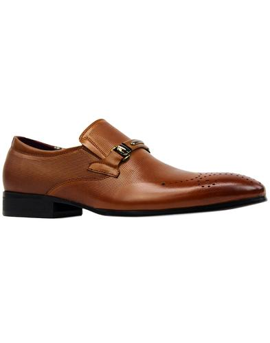 paolo vandini sarell retro mod grain loafers tan