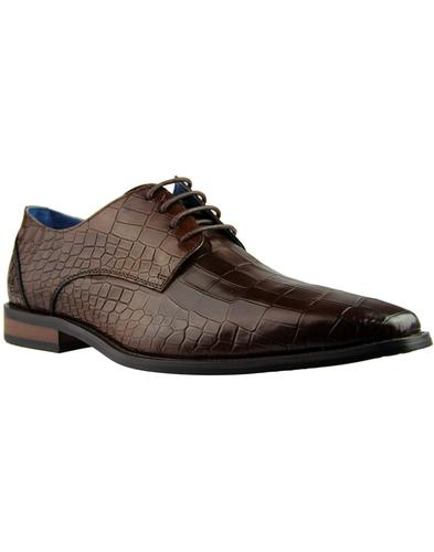 Teilo PAOLO VANDINI Croc Stamp Chisel Shoes BROWN
