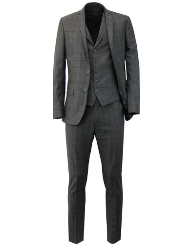 Mens Retro 2 Button Windowpane Check 3 Piece Suit