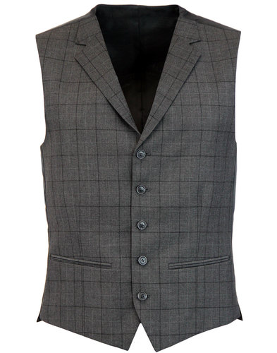 Retro Mod Window Pane Check High Fasten Waistcoat