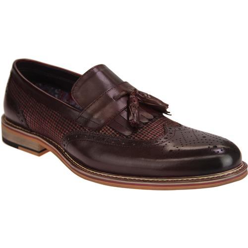 cef475e4ef4 paolo vandini mens denali retro mod leather brogue fringe tassel loafers  shoes bordeaux
