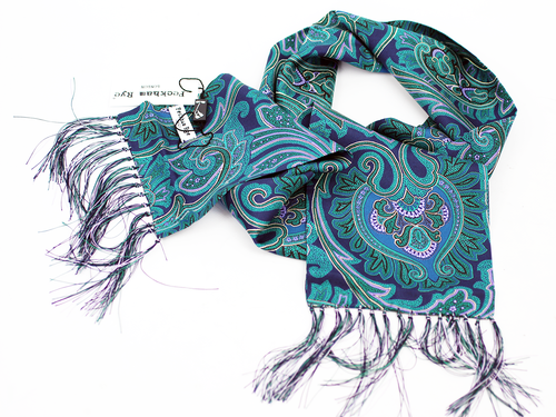 Big Floral Paisley PECKHAM RYE Mod Silk Scarf (A)