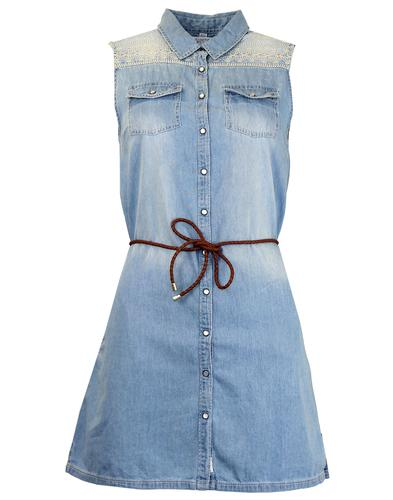 Lupita PEPE JEANS Retro 1970s Denim Shirt Dress