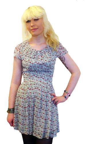 Scene PEPE Retro Sixties Floral Mod Chiffon Dress