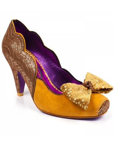 Poetic Licence Lola Bow Retro Shoes Mustard