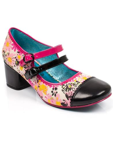 Mini Mod POETIC LICENCE 60s Floral Mod Shoes -Pink
