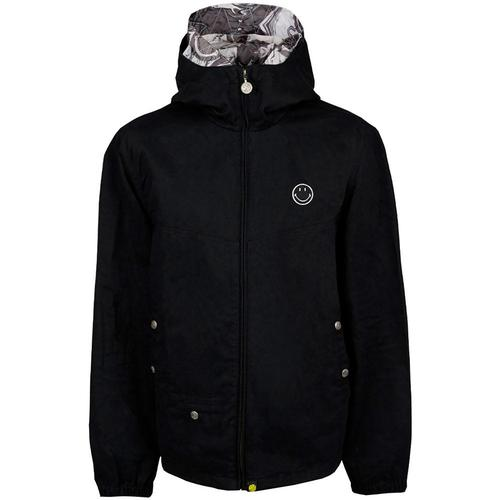 2be2fa6ad Pretty Green x Smiley Men's Retro 1990s Zip Up Cotton Hooded Jacket in Black