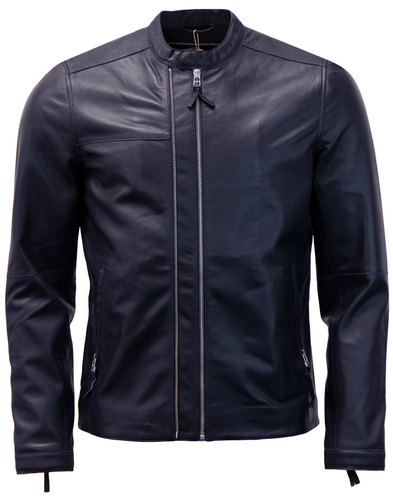 Addison PRETTY GREEN Retro Leather Biker Jacket N
