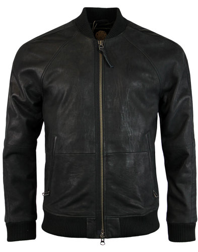 Albion PRETTY GREEN Retro Leather Bomber Jacket